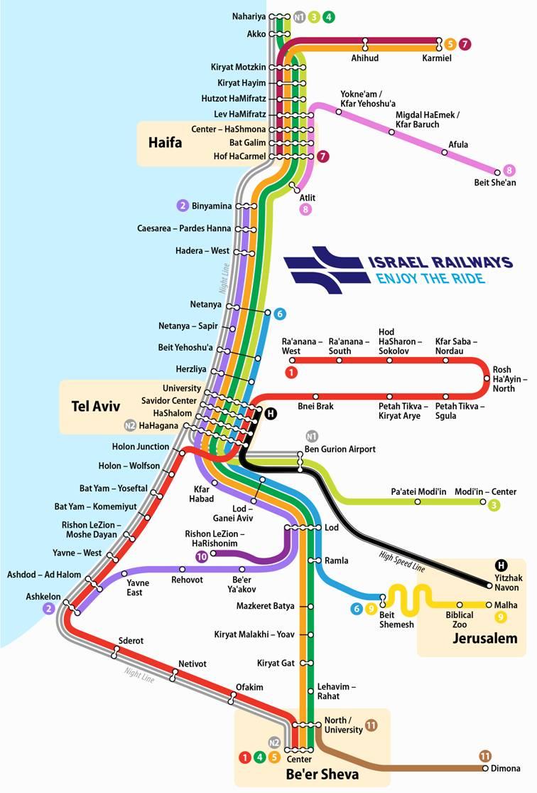 Карта Израильской железной дороги