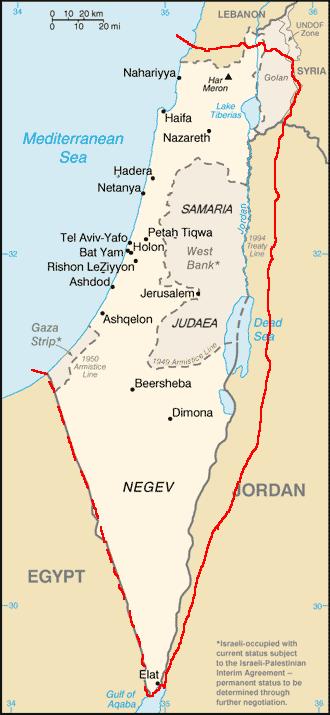 Карта Британский Мандат в Палестине