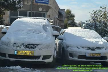 засыпало снегом Иерусалим